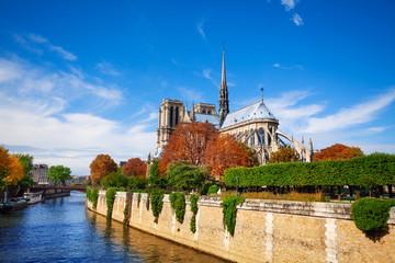 Notre Dame de Paris along the Seine river
