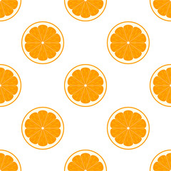 Orange slices on white background seamless pattern
