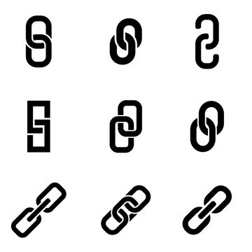 Vector black chain or link icon set. Chain or Link Icon Object, Chain or Link Icon Picture, Chain or Link Icon Image - stock vector