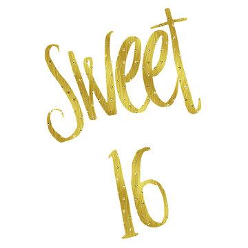 Sweet 16 Gold Faux Foil Metallic Glitter Sixteen Birthday Quote