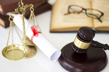 Law concept, gavel, scale, books and diploma