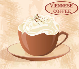 Cup of coffee with whipped cream on grunge background.