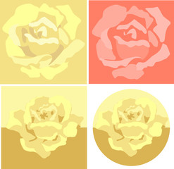 Yellow and red roses in the form of silhouettes.