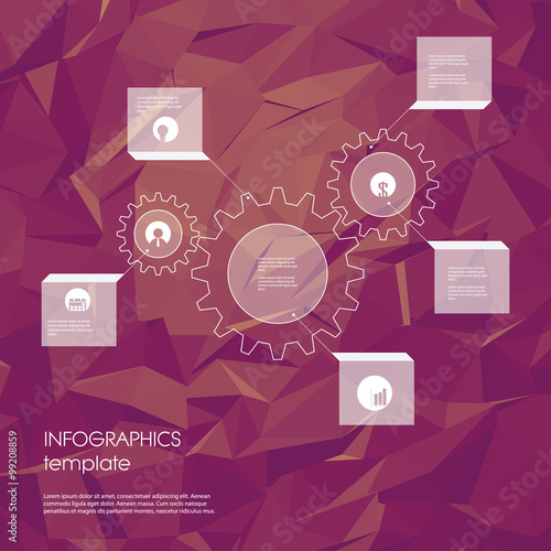 infographics template with business icons and gears as a symbol of, Low Poly Business Presentation Template, Presentation templates