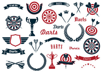 Darts sport game design elements and items