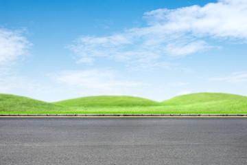 Roadside grass and blue sky