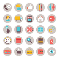 collection of flat icons for online shopping internet  infograph