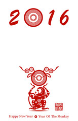 Chinese new year greeting card with monkey vector illustration m