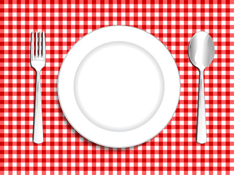 Plate setting white with red checkered tablecloth  spoon and for