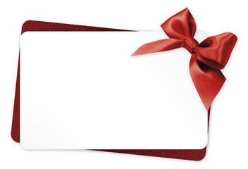 Obraz gift card with red ribbon bow Isolated on white background - fototapety do salonu