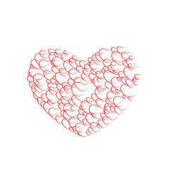 Red Hearts  on white background, Valentine's day, big heart
