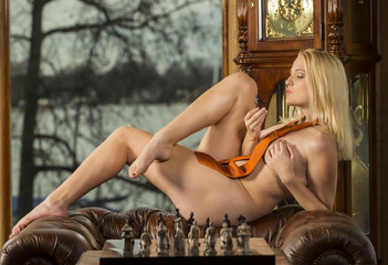 Female Playing Chess