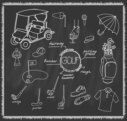 Collection of stylized hand drawn Golf icons, Golfer Equipment set Vector illustration Golf club Golf course background Ball Bag Flag Putter Golf set Golf cart symbol collection Sport Hobby icons