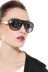 close-up beautiful woman in fashionable in sunglasses