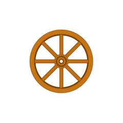 Vintage wooden wheel in brown design