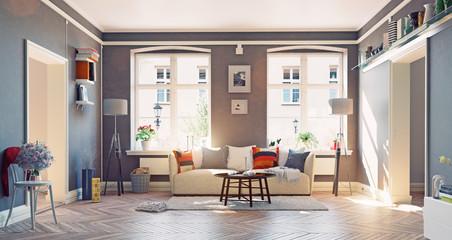 modern house interior.3d concept