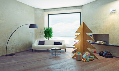 interior with plywood Christmas tree. 3D concept