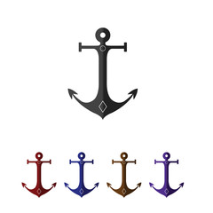 Set of anchors. Flat style. Black, red, blue, and brown.