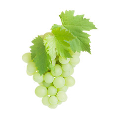 Bunch of white grapes with leaves