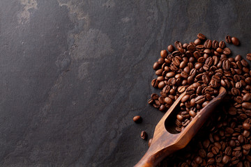 Coffee beans on stone table