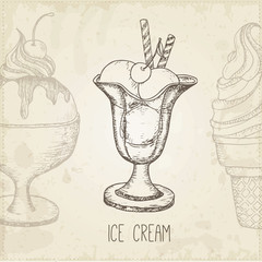 Vector hand drawn ice cream.