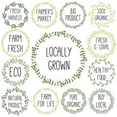 Organic Farming market hand-sketched herbal vector frame (templa