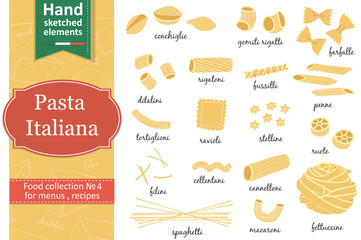 Italian Pasta collection drawings. Sketches. Hand-drawing.