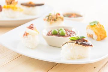 Fried Mackerel with Shrimp Paste Sauce Sushi