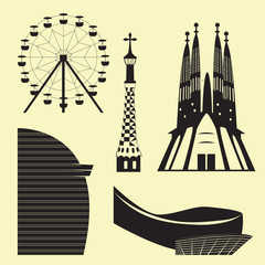 Silhouettes of Barcelona attractions