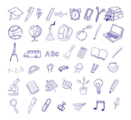 set of hand drawn icons. Education, back to school.