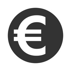 Euro sign. Simple web navigation icon. Symbol of currency, finance, business and banking. Money label. Gray flat coin isolated on white background. Flat design concept Stock Vector illustration