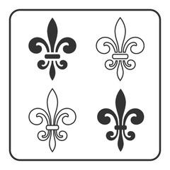 Fleur de Lis symbol set. Fleur-de-Lis sign. Royal french lily. Heraldic icon for design, logo, decoration. Elegant flower outline design. Gray element isolated on white background. Vector illustration