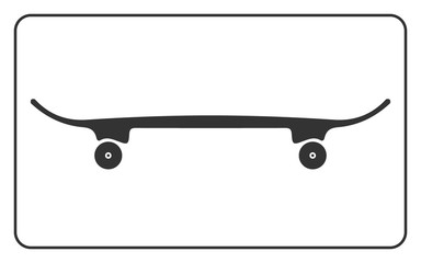 Skateboard icon. Skateboarding symbol. Equipment for extreme sport. Visibility from the side in profile. Gray sign silhouette isolated on white background. Design element. Flat Vector illustration.