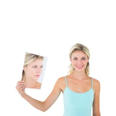 Woman showing picture of herself