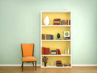 3d illustration of books on the shelves of the decor in the inte