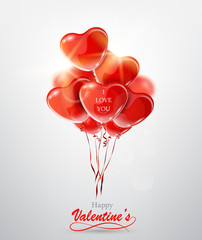 Happy Valentine's Day greeting card with red heart balloons.