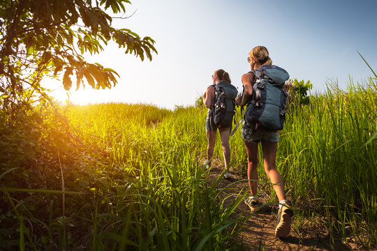 Hikers with backpack