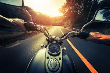 Motorcycle on the empty asphalt road Fototapete