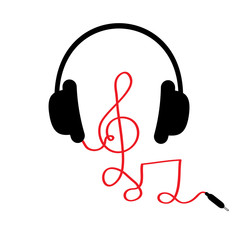 Headphones with treble clef, note red cord and word Music. Card. Flat design. White background.