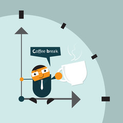 Illustration vector of cartoon businessman relaxing, sitting on hand clock. And drinking hot coffee (tea) from a white cup during take a break time