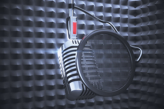Old style microphone at speakers background
