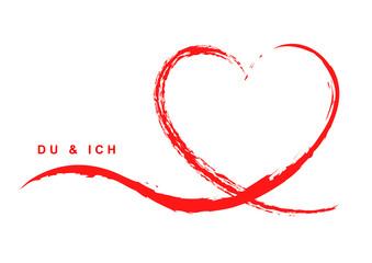 """Grußkarte mit handgezeichnetem rotem Herz – """"Du & Ich"""""""