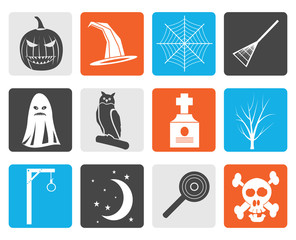 Black halloween icon pack  with bat, pumpkin, witch, ghost, hat - vector icon set