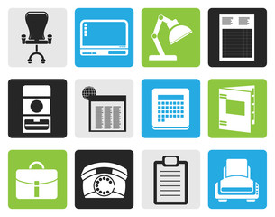 Black Simple Business, office and firm icons - vector icon set