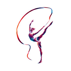 Creative silhouette of gymnastic girl. Art gymnastics with ribbon
