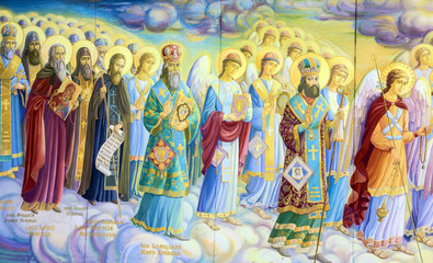 Kiev, Ukraine. Saints council. Fragment of historical picture