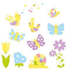 Set of cute nature cartoon elements / spring  - vectors for children