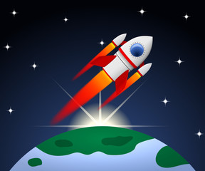 Red and white cartoon steel rocket flying on planet background w