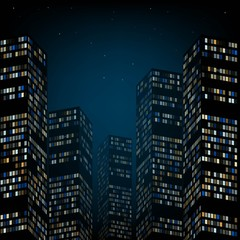 Skyscrapers and the night sky