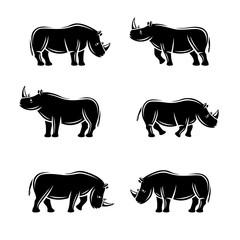 Rhinoceros set. Vector